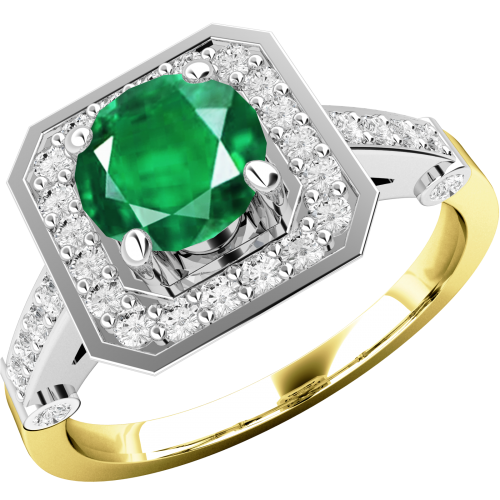 A beautiful emerald & diamond cluster style ring in 18ct yellow & white gold