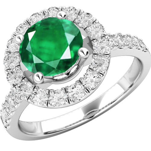 A stylish emerald & diamond cluster style ring in 18ct white gold