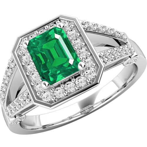 A gorgeous emerald & diamond cluster style ring in 18ct white gold