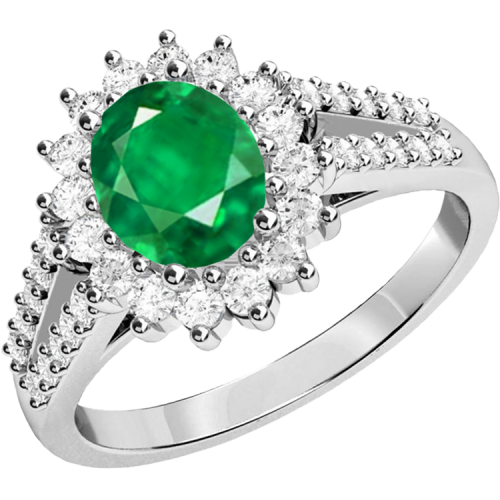 An elegant emerald & diamond cluster style ring in 18ct white gold