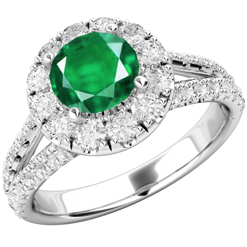 A beautiful Emerald and diamond cluster in 18ct white gold