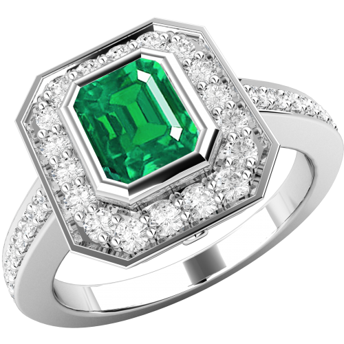 A classic emerald & diamond cluster style ring in 18ct white gold
