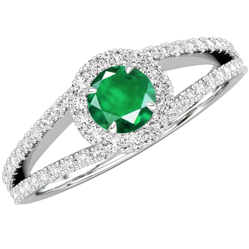 A stunning Round Cut Emerald and diamond ring with shoulder stones in 18ct white gold