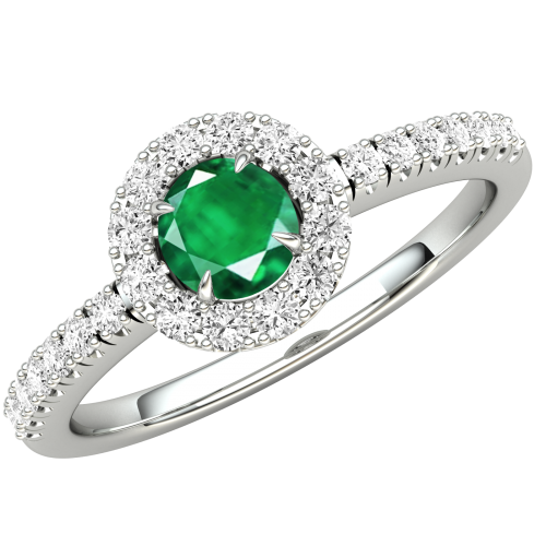 A stunning round cut Emerald and diamond ring with shoulder stones in palladium