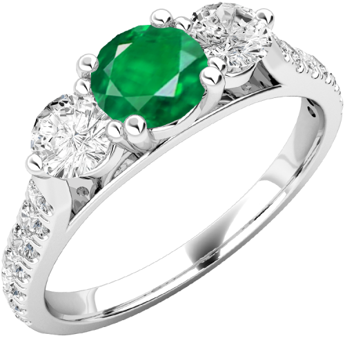 A luxurious emerald & diamond ring with shoulder stones in 18ct white gold