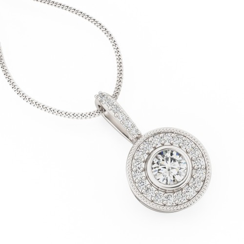 An elegant Round Brilliant Cut diamond necklace in 18ct white gold