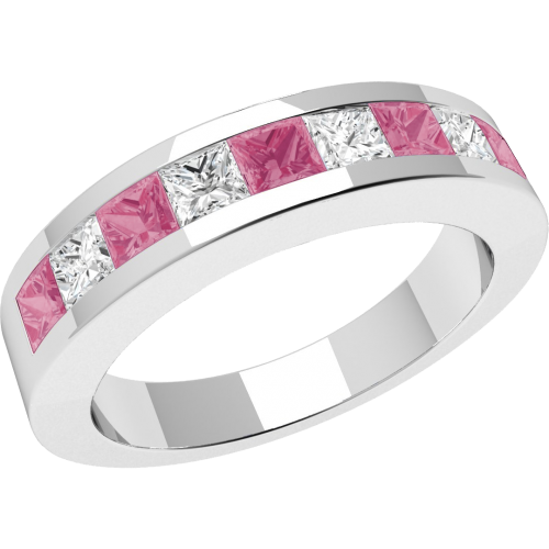 An elegant pink sapphire & diamond eternity ring in 18ct white gold