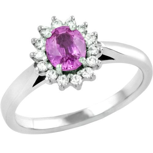 A classic pink sapphire & diamond cluster style ring in 18ct white gold