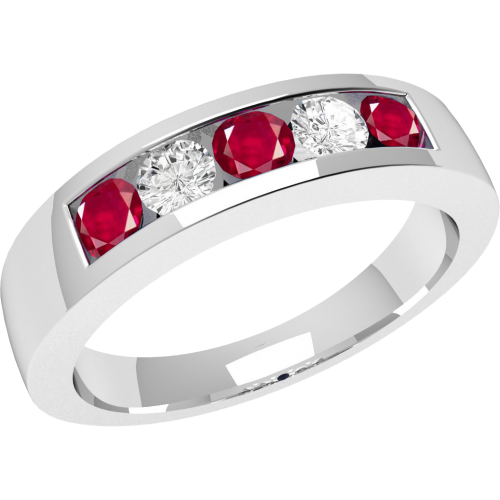 A stunning five stone ruby & diamond eternity ring in 18ct white gold