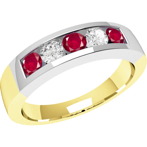 A stunning five stone ruby & diamond eternity ring in 18ct yellow & white gold