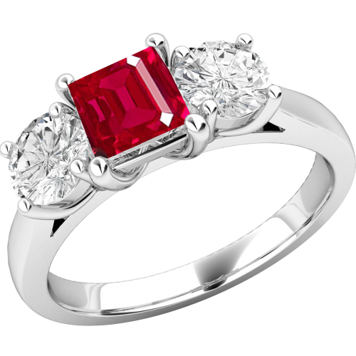 A stunning ruby & diamond ring three stone ring in 18ct white gold