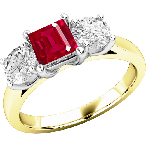 A stunning ruby & diamond ring three stone ring in 18ct yellow & white gold