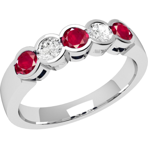 A stylish Round Brilliant Cut ruby & diamond eternity ring in 18ct white gold