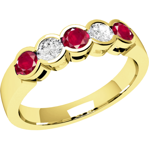 A stylish Round Brilliant Cut ruby & diamond eternity ring in 18ct yellow gold