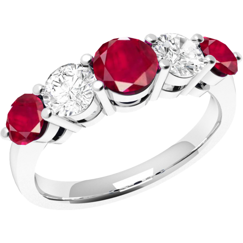 An elegant Round Brilliant Cut ruby & diamond eternity ring in 18ct white gold