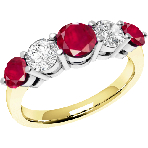 An elegant Round Brilliant Cut ruby & diamond eternity ring in 18ct yellow & white gold