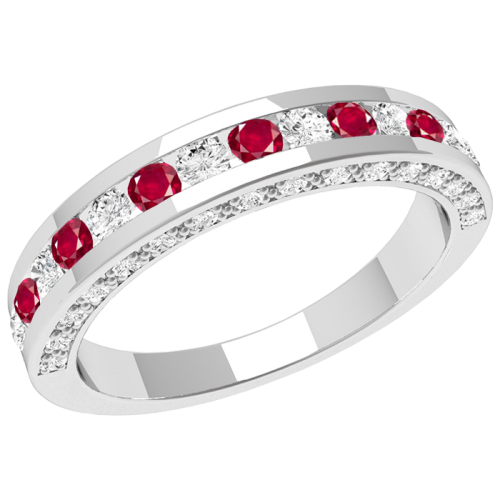 A breathtaking ruby & diamond eternity ring in 18ct white gold