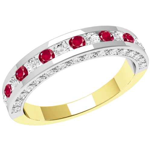 A breathtaking ruby & diamond eternity ring in 18ct yellow & white gold