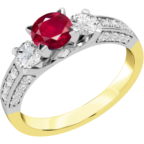 A luxurious ruby & diamond ring with shoulder stones in 18ct yellow & white gold