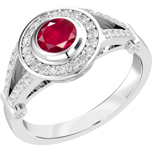 An elegant ruby & diamond cluster ring in 18ct white gold