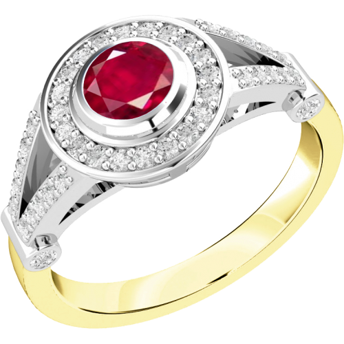 An elegant ruby & diamond cluster ring in 18ct yellow & white gold