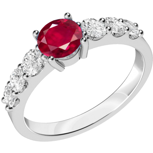 A stunning ruby ring with diamond shoulder stones in 18ct white gold
