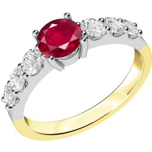 A stunning ruby ring with diamond shoulder stones in 18ct yellow & white gold
