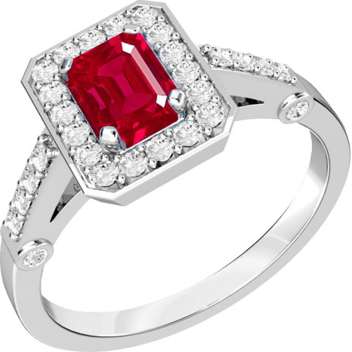 A stylish ruby & diamond cluster ring in 18ct white gold