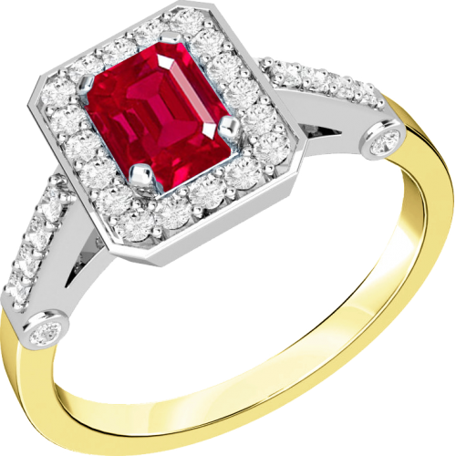 A stylish ruby & diamond cluster ring in 18ct yellow & white gold