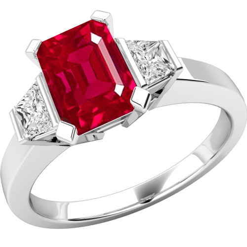 A classic three stone ruby & diamond ring in 18ct white gold