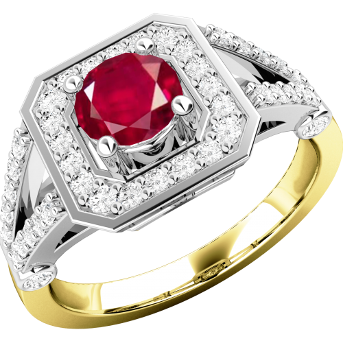 A stunning ruby & diamond cluster ring in 18ct yellow & white gold