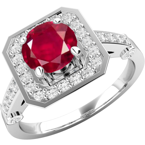 A beautiful ruby & diamond cluster style ring in 18ct white gold