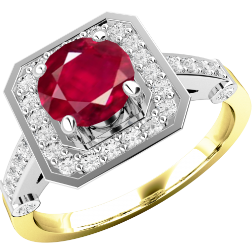 A beautiful ruby & diamond cluster style ring in 18ct yellow & white gold