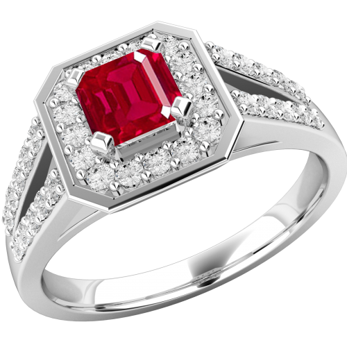 A stunning ruby & diamond cocktail ring in 18ct white gold