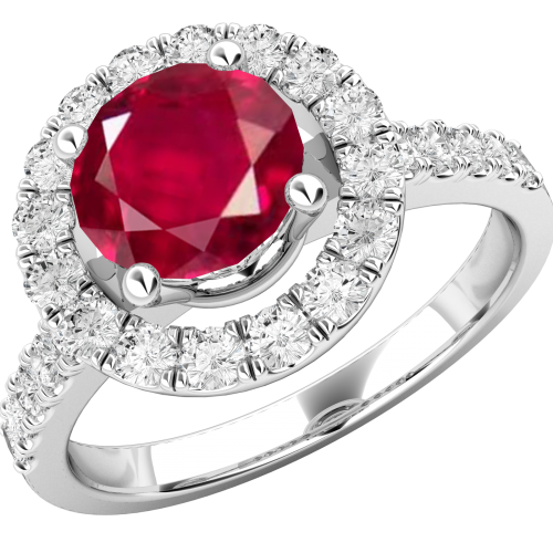 A stylish ruby & diamond cluster style ring in 18ct white gold