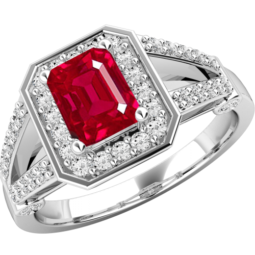 A gorgeous ruby & diamond cluster style ring in 18ct white gold