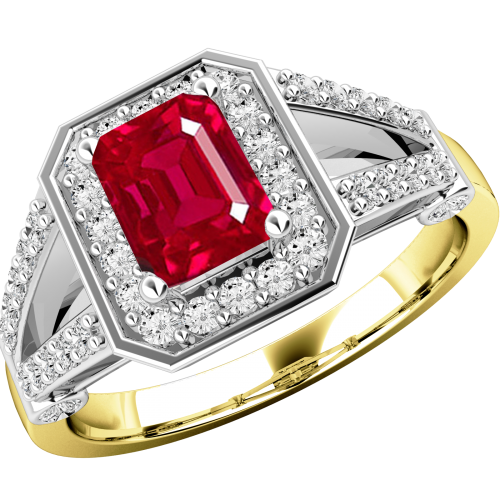 A gorgeous ruby & diamond cluster style ring in 18ct yellow & white gold
