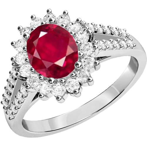 An elegant ruby & diamond cluster style ring in 18ct white gold