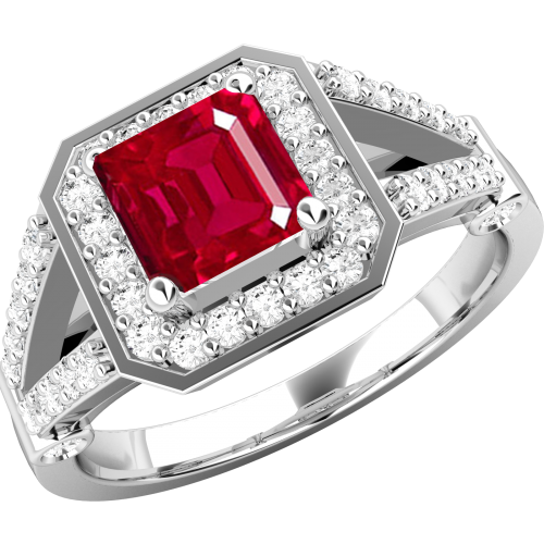 A stunning ruby & diamond cluster style ring in 18ct white gold