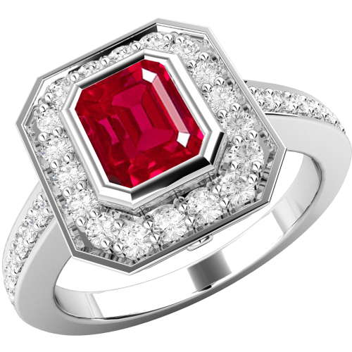 A classic ruby & diamond cluster style ring in 18ct white gold