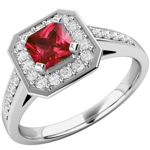 A stunning ruby and diamond cluster with shoulder stones in platinum