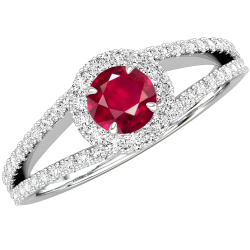 A stunning Round Cut Ruby and diamond ring with shoulder stones in 18ct white gold