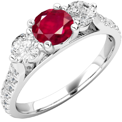 A luxurious ruby & diamond ring with shoulder stones in platinum