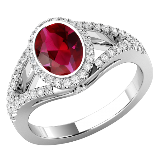 A beautiful Ruby & diamond cluster style ring with shoulder stones in 18ct white gold
