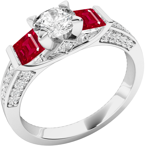 A stunning Round Brilliant Cut diamond and Ruby ring with shoulder stones in 18ct white gold