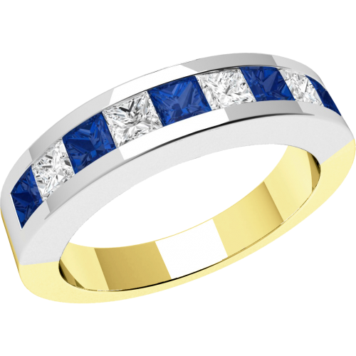 An elegant sapphire & diamond eternity ring in 18ct yellow & white gold