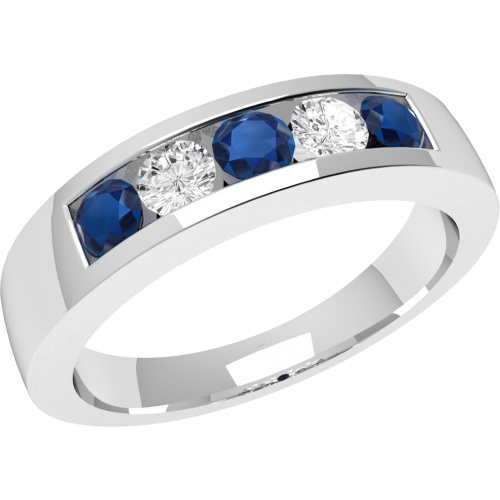 A stunning five stone sapphire & diamond eternity ring in 18ct white gold