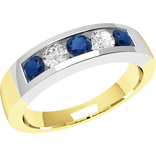 A stunning five stone sapphire & diamond eternity ring in 18ct yellow & white gold