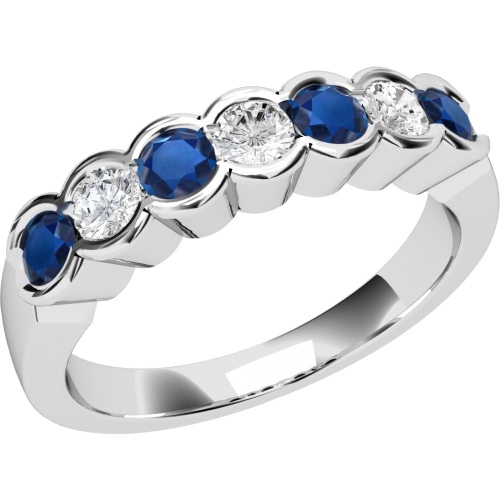 A stylish Round Brilliant Cut sapphire & diamond eternity ring in 9ct white gold