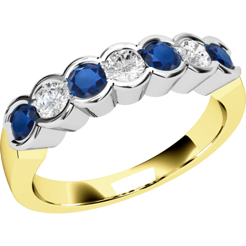 A stylish Round Brilliant Cut sapphire & diamond eternity ring in 9ct yellow & white gold